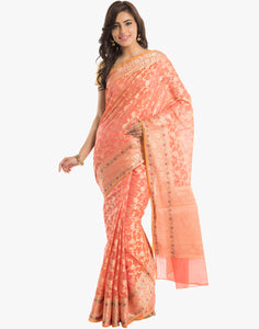 Cotton Woven Saree With All-over Floral Zari Jaal by Meena Bazaar