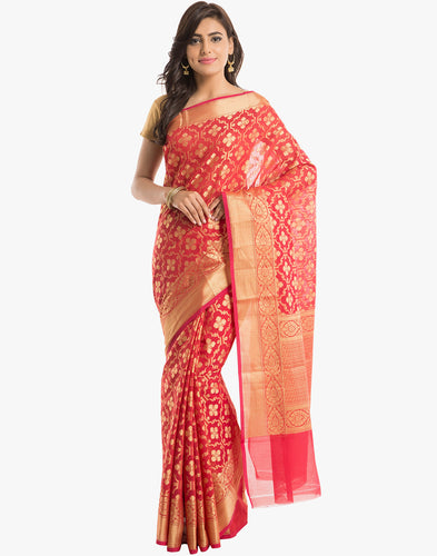 Cotton Saree With All-over Geometrical Floral Jaal By Meena Bazaar