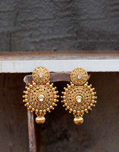 Meena Bazaar: Golden Tone Traditional Chandbali Earrings