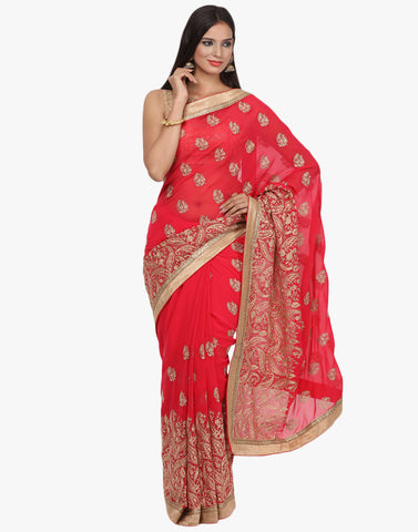 Paisley Booti Georgette Saree With Zari Embroidery By Meena Bazaar