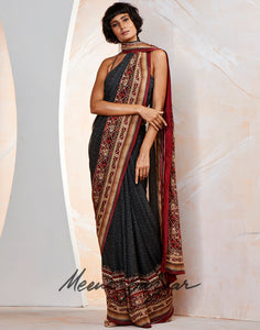 Black Red Georgette Printed Saree