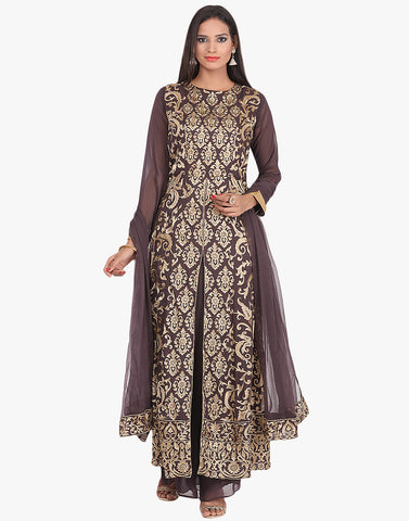 Georgette A-Line Suit With All-Over Zari Thread Embroidered Jaal By Meena Bazaar