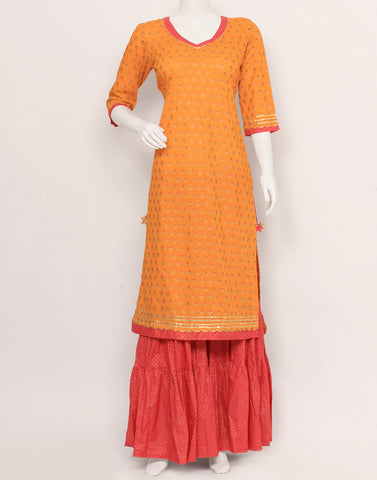 Yellow Rani Cotton Kurti with Palazzo