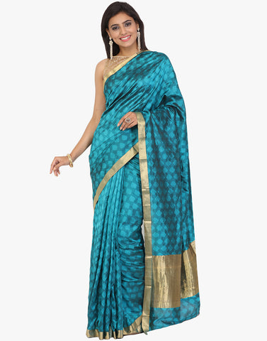Self Jacquard South Silk Saree With Woven Zari Border By Meena Bazaar