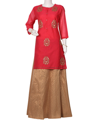Rani Cotton Chanderi Kurti with Palazzo