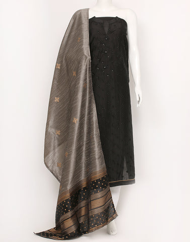 Black Cotton Chanderi Suit Set