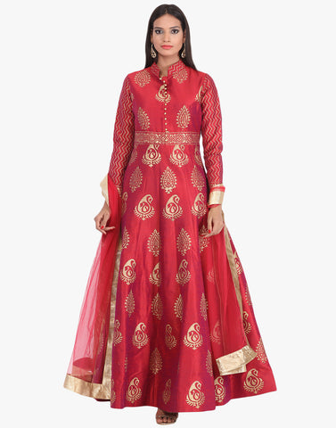 Dupion Silk Anarkali Suit With All-Over Paisely Booti Block Print By Meena Bazaar