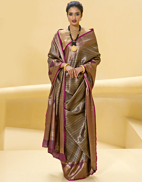 Traditional Banarsi Saree With Geometrical Pattern By Meena Bazaar