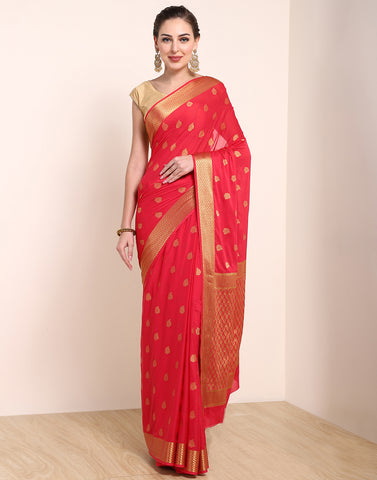 Hot Pink Art Crape Saree
