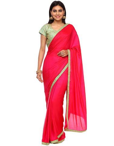 Sequins Work Embroidered Dupion Silk Saree With Ready Blouse By Meena Bazaar