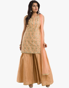 Meena Bazaar: Cotton Chanderi Suit With Zari Embroidery