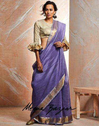 Mouve Cotton Woven Saree