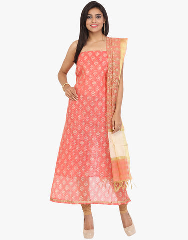 Unstitched Geometrical Print Cotton Chanderi Suit By Meena Bazaar