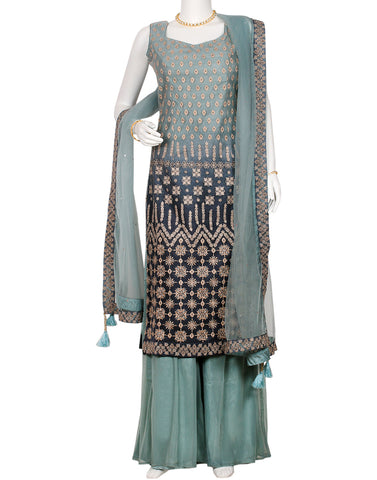 Grey Blue Net Salwar Kameez