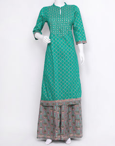 Rama Green Grey Cotton Kurti with Palazzo