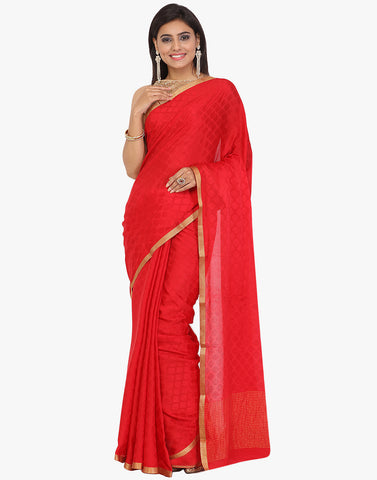 Self Jacquard All-Over Booti Crepe Woven Saree By Meena Bazaar