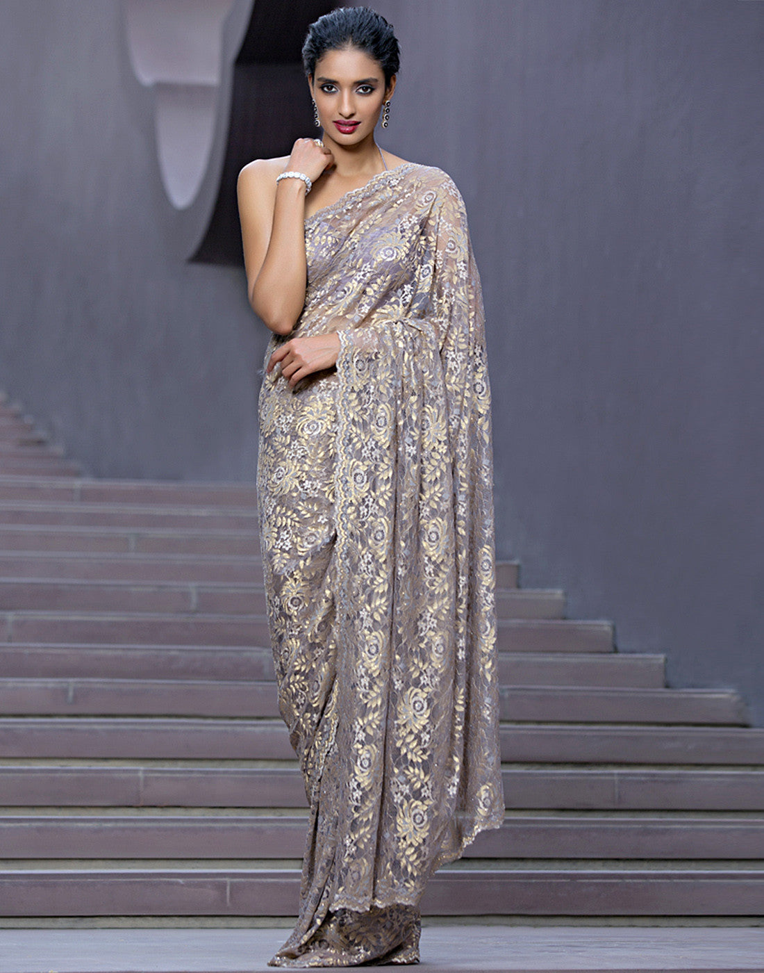 Embellished Chantilly Lace Saree