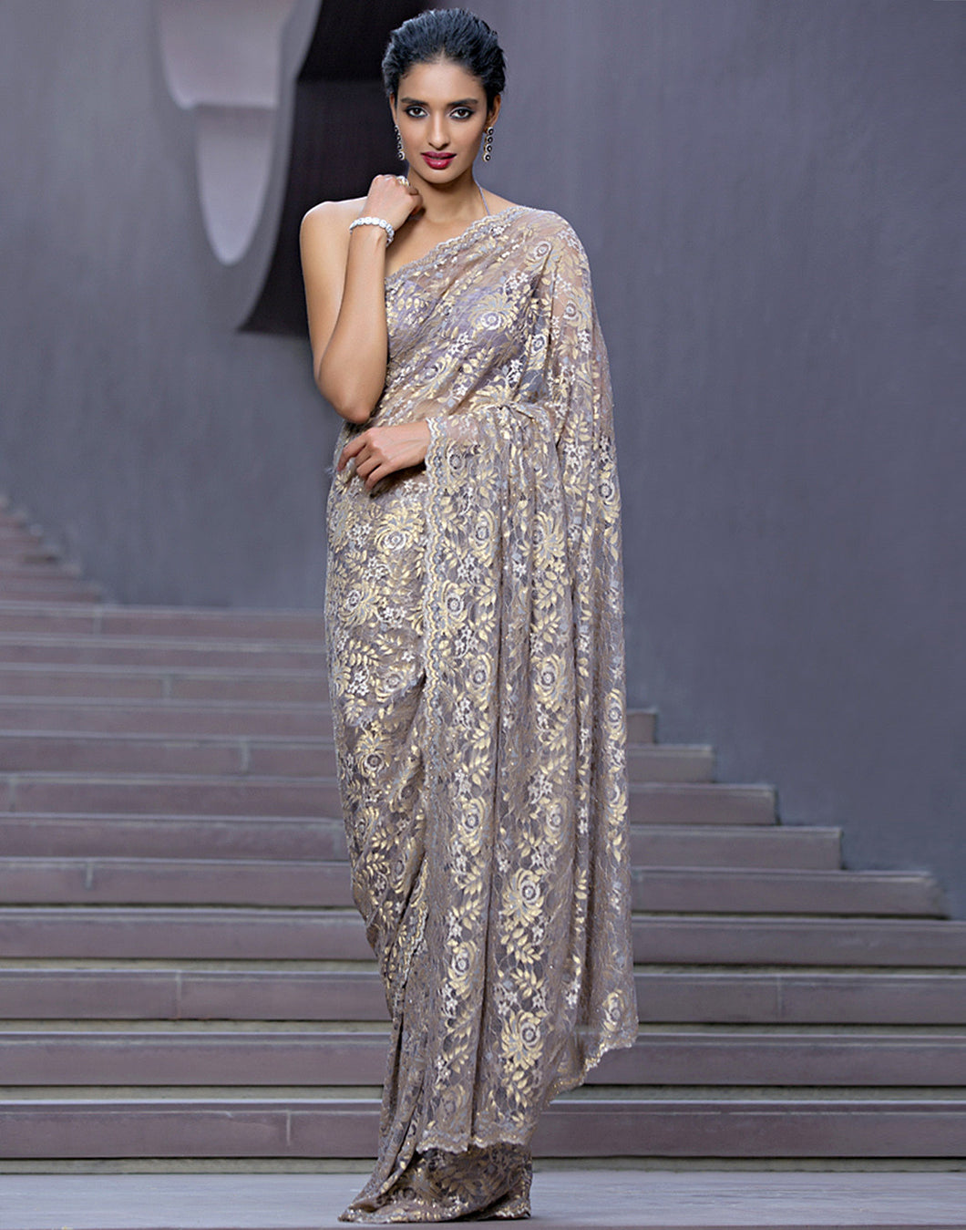 Meena Bazaar: Embellished Chantilly Lace Saree