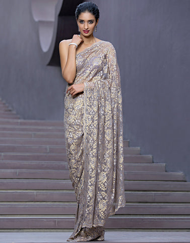 Chantilly Lace Saree Embellished With Swarovski By Meena Bazaar