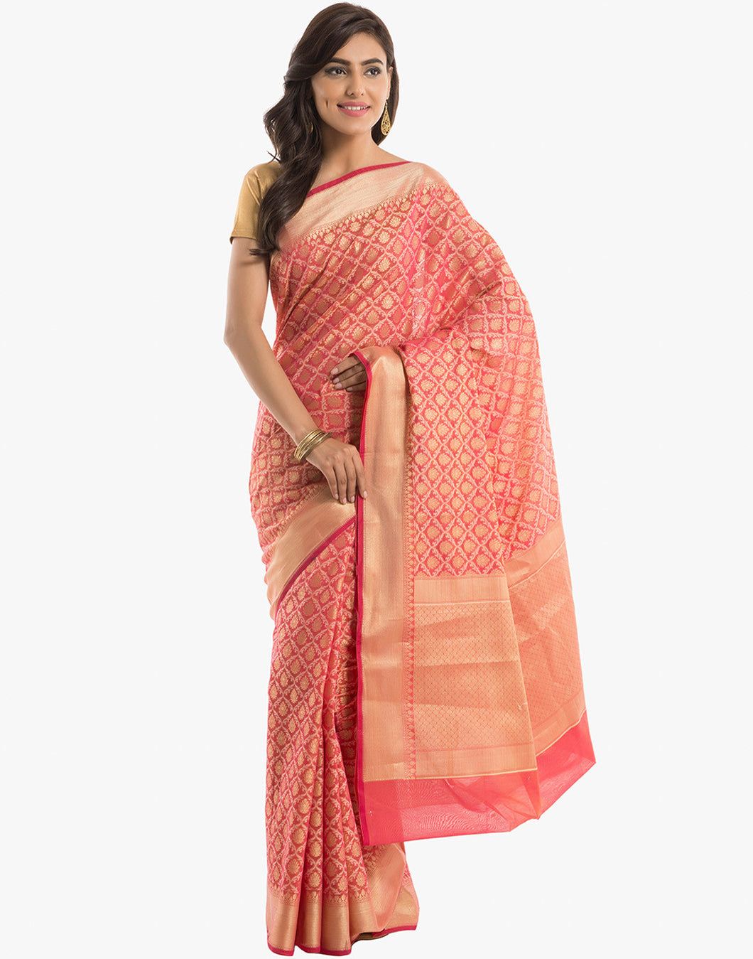 Cotton Saree With All-over Floral Zari Jaal By Meena Bazaar