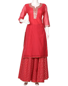 Rani Cotton Chanderi Kurti with Skirt