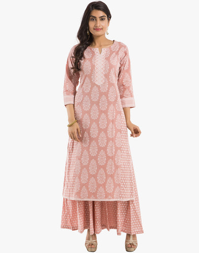 Meena Bazaar: Printed Cotton Kurti With Palazzo