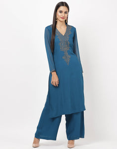 Teal Blue Georgette Kurti with Palazzo