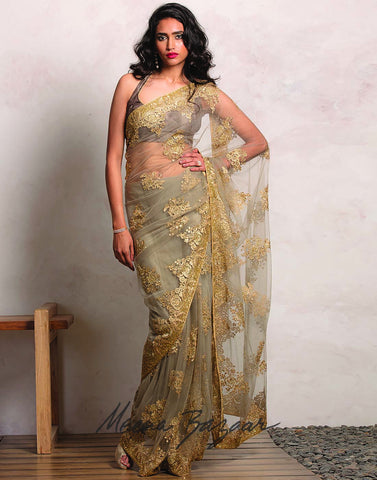 Net Saree With Floral Zari Embroidery