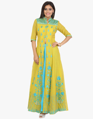 Semi-Stitched Cotton Chanderi Achkan Embroidered Suit With Skirt By Meena Bazaar