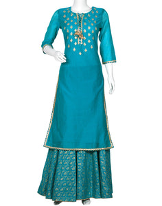 Sea Green Cotton Chanderi Kurti with Skirt