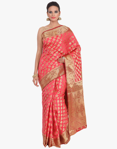 All-Over Zari Booti Handloom Silk Saree By Meena Bazaar