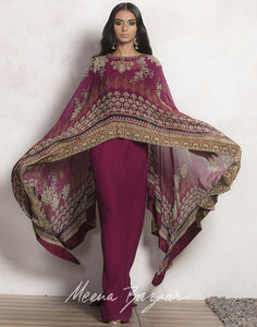 Wine colour digital Printed Cape Style Georgette Dress