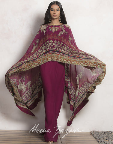 Meena Bazaar: Wine colour digital Printed Cape Style Georgette Dress