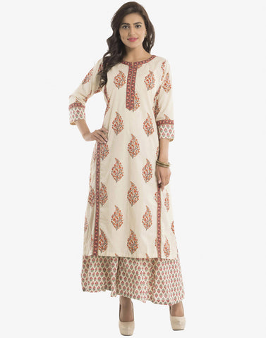 Floral Printed Cotton Kurti With Palazzos By Meena Bazaar