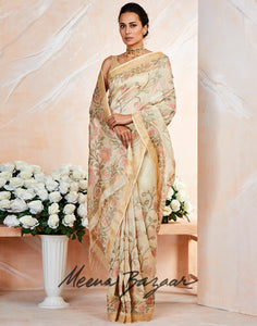 Beige Cotton Embroidered Saree