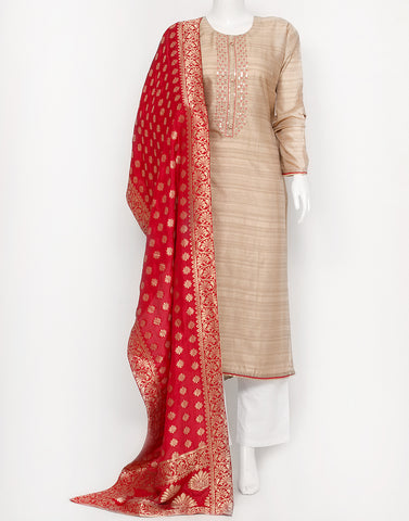 Beige Red Art Tusser Suit Set