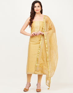 Mustard Chanderi Suit Set