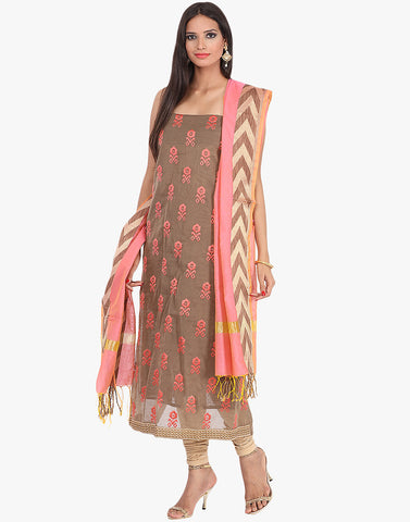 Unstitched Cotton Chanderi Suit With Thread Embroidered Bootis By Meena Bazaar