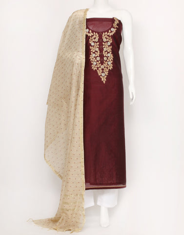 Wine Cotton Chanderi Suit Set