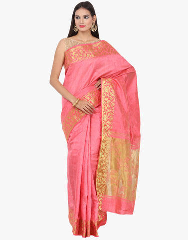 Handloom Silk Saree With Floral Zari Weave By Meena Bazaar