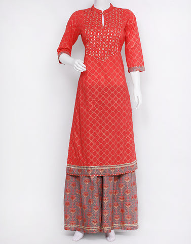Red Grey Cotton Kurti with Palazzo