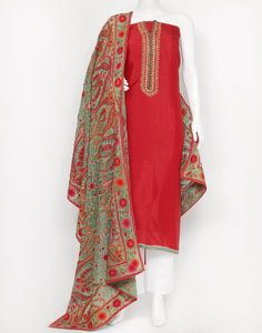 Red Art Handloom Suit Set