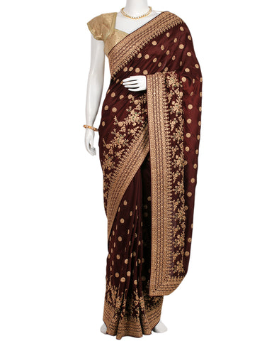 Wine Woven Embroidered Saree