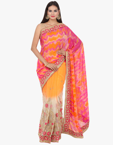 Embroidered Half and Half Tie and Dye Saree By Meena Bazaar