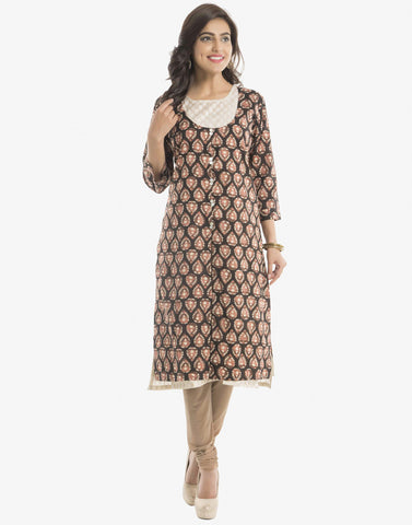 Double Layered Printed Cotton Chanderi Kurti By Meena Bazaar