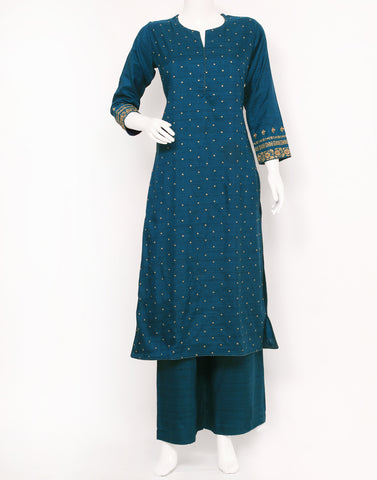Teal Blue Art Tusser Kurti with Palazzo