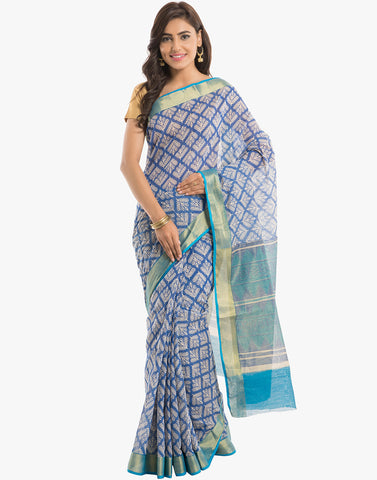 Geometrical Leaf Printed Cotton Saree With Zari Border By Meena Bazaar