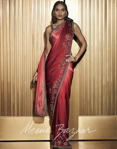 Meena Bazaar: Embellished Ombre Saree With Floral Embroidery