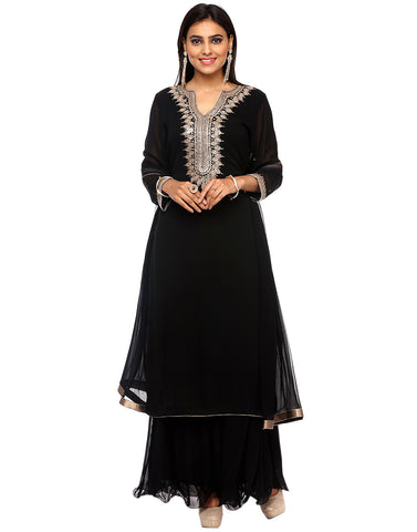 Georgette Sharara Suit With Sequins Embroidered Yoke By Meena Bazaar