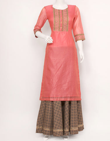 Pink Grey Cotton Chanderi Kurti with Skirt